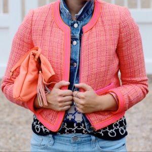 J. Crew Plaid Bouclé Tweed Jacket Pink Orange